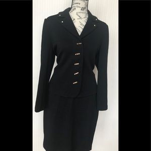 St. John black size 4 skirt suit